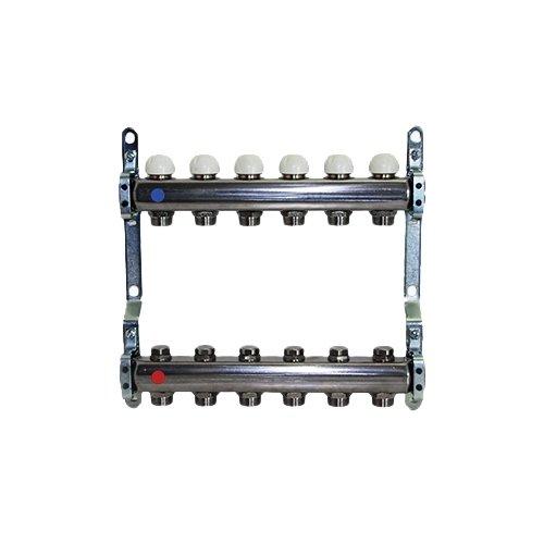 Collettore di distribuzione in acciaio AISI 304L da 1'' con derivazioni 3/4''x18 (Eurocono) e vitoni a memoria meccanica