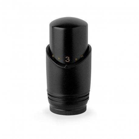 Testa termostatica nera con sensore a liquido