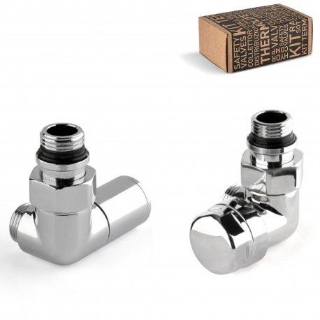 Kit valvola termostatica versione destra + detentore versione sinistra d'arredo cromati