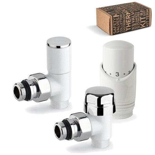 Kit valvola termostatica + detentore + testa termostatica d'arredo bianchi ad angolo