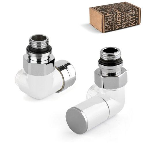 Kit valvola termostatica versione sinistra + detentore versione destra d'arredo bianchi