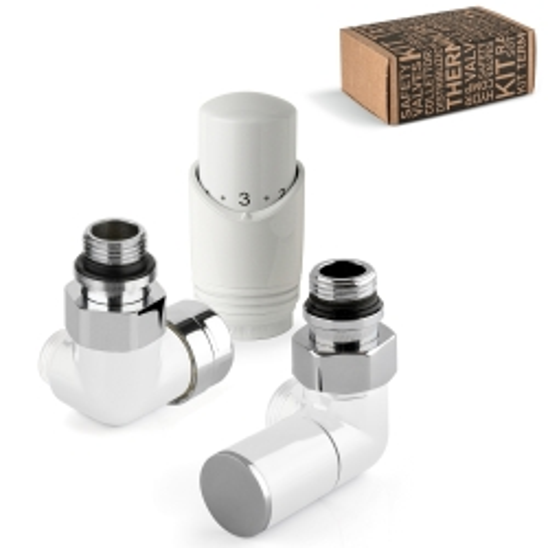 Kit valvola termostatica versione sinistra + detentore versione destra + testa termostatica d'arredo bianchi