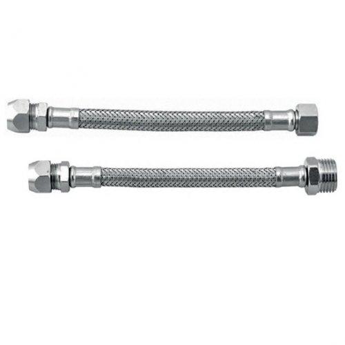 Tubo flessibile trecciato per monoforo in acciaio inox AISI 304 DN8 Lunghezza 35cm