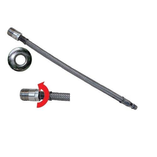 Tubo flessibile trecciato per miscelatori in acciaio inox AISI 304 7 fili DN8 Maschio girevole prolungato con rosone corto