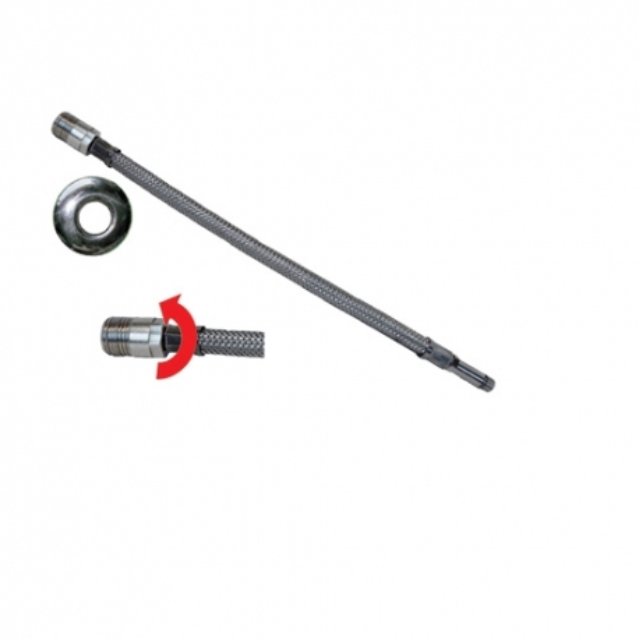 Tubo flessibile trecciato per miscelatori in acciaio inox AISI 304 7 fili DN8 Maschio girevole prolungato con rosone lungo