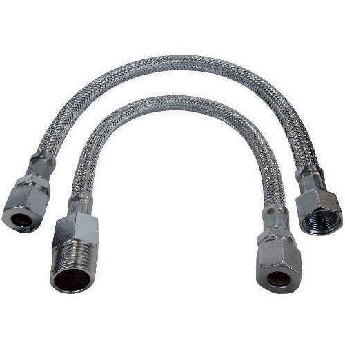 Tubo flessibile trecciato antischiacciamento per monoforo in acciaio inox AISI 304 DN8 con attacco a compressione per tubo rame
