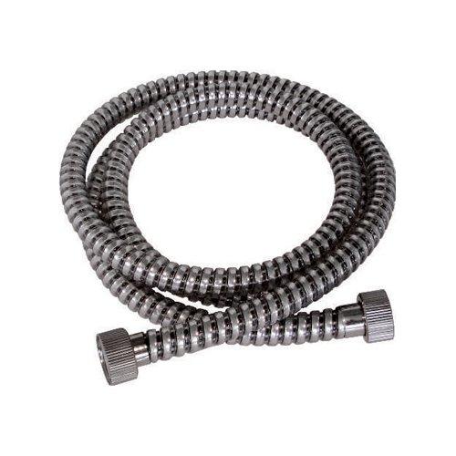 Tubo Flessibile doccia in PVC Nero/Cromo ad 8 fili longitudinali con attacco F/F da 1/2