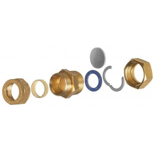 Raccordo di transizione in ottone per il collegamento dei tubi corrugati in acciaio inox ai tubi in rame