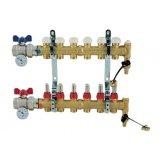 Collettore di distribuzione da 1 senza BY-PASS, con derivazioni 3/4x18 EUROCONO e misuratori di portata