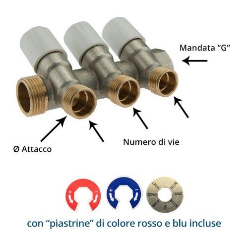 """Collettore con Rubinetto Di Arresto a Vitone con uscite 1/2""""x16"""