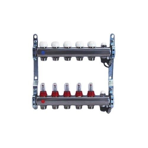 """Collettore di distribuzione in acciaio da 1"""" con derivazioni 3/4""""x18 (Eurocono) e flussimetri"""