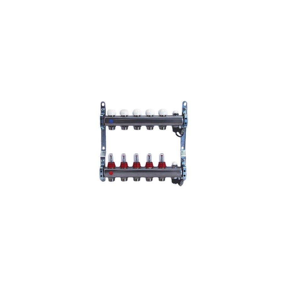 Collettore di distribuzione in acciaio da 1'' con derivazioni 3/4''x18 e flussimetri, con valvole e rubinetti di sfiato