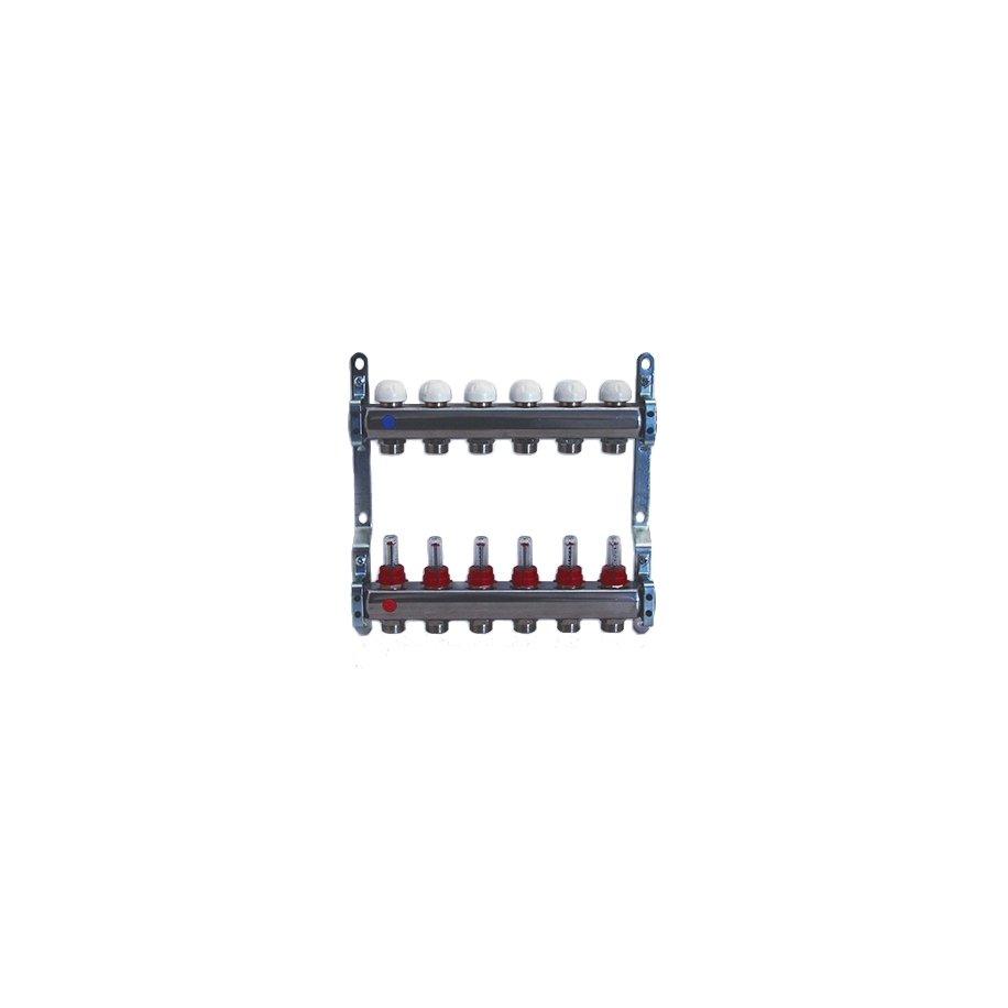 Collettore di distribuzione in acciaio AISI 304L da 1'' con derivazioni 3/4''x18 (Eurocono) e flussimetri