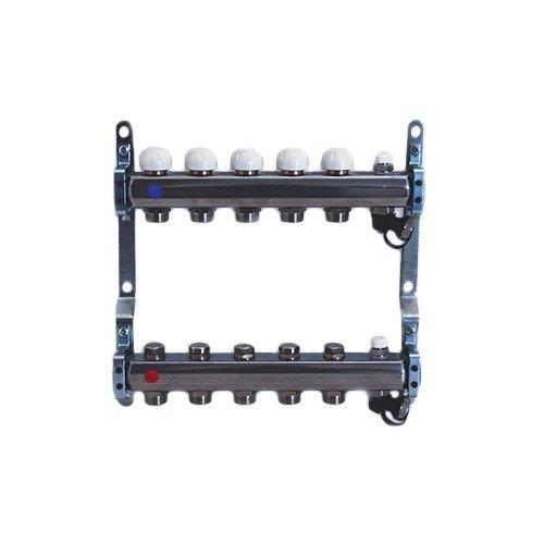 """Collettore di distribuzione in acciaio da 1"""" con derivazioni 3/4""""x18 (Eurocono) e vitoni a memoria meccanica"""
