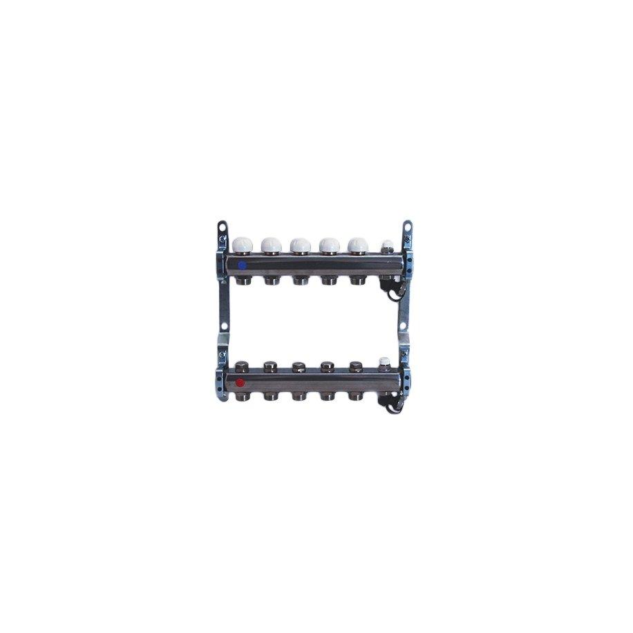 Collettore 1'' con derivazioni 3/4''x18 e vitoni a memoria meccanica, completo di valvole di sfiato aria e rubinetti di scarico
