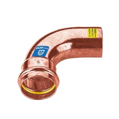Curva/Gomito 90° Maschio/Femmina a pressare in rame per acqua e gas