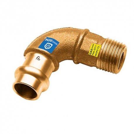 Gomito 90° Maschio a pressare in bronzo per acqua e gas