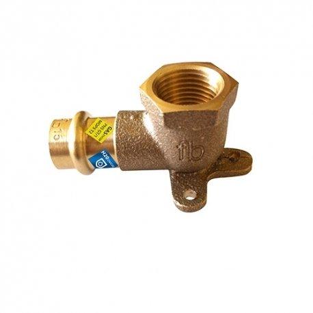 Gomito Femmina con staffa a pressare in bronzo per acqua e gas