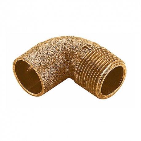Gomito 90° Maschio a saldare in bronzo per acqua e gas