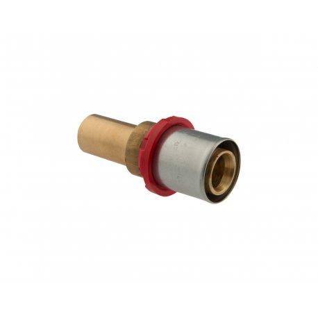 Giunzione dritta tubo multistrato/tubo rame con tubetto cilindrico a pressare